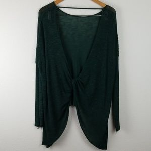Free People OPEN BACK top oversize thin knit green